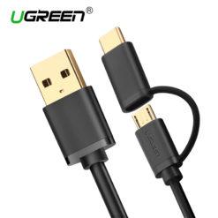 Кабель зарядки и синхронизации 2 в 1 USB – MicroUSB/Type-C, UGreen