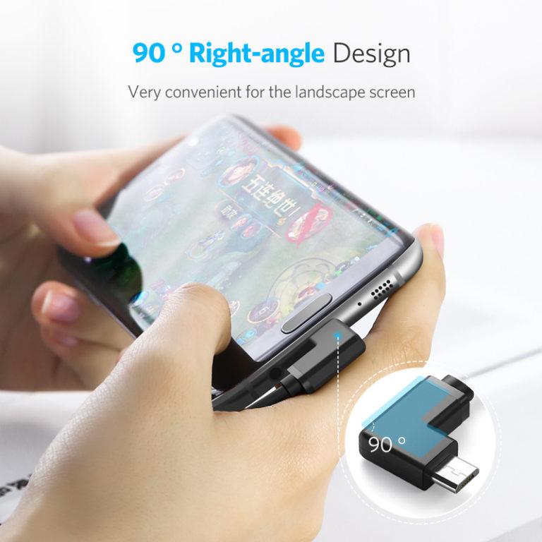 OTG кабель-адаптер USB – microUSB (угловой), Ugreen