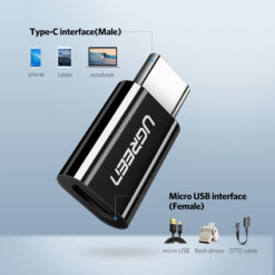 Адаптер MicroUSB в Type-C для Samsung, Macbook (OTG), Ugreen