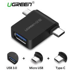 Адаптер USB – microUSB/Type-C (OTG конвертер), Ugreen