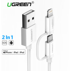 Кабель зарядки и передачи данных 2 в 1 USB – MicroUSB/Lighting, Ugreen