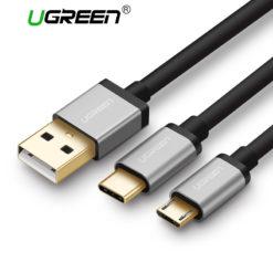 Кабель зарядки и передачи данных 2 в 1 microUSB – Type-C, Ugreen