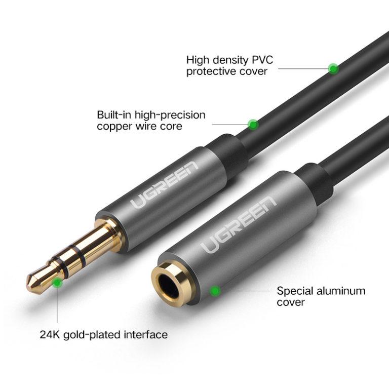 Кабель-удлинитель для наушников Jack 3,5 мм (AUX), Ugreen