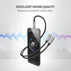 Разветвитель аудио-кабеля для наушников AUX 3,5 мм, Ugreen
