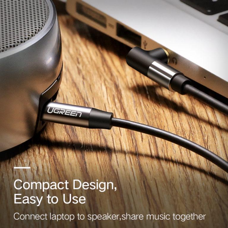 Угловой аудио-кабель AUX Jack 3.5мм, Ugreen
