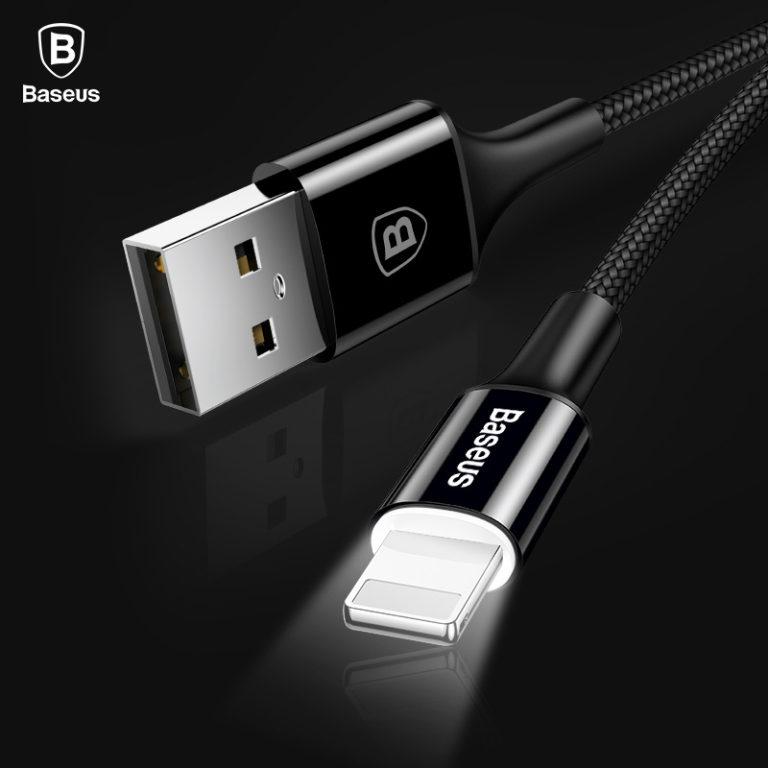 Нейлоновый кабель Lighting с подсветкой для iPhone, Baseus