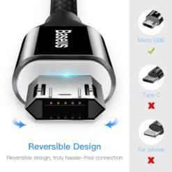Реверсивный кабель зарядки и синхронизации MicroUSB с подсветкой, Baseus