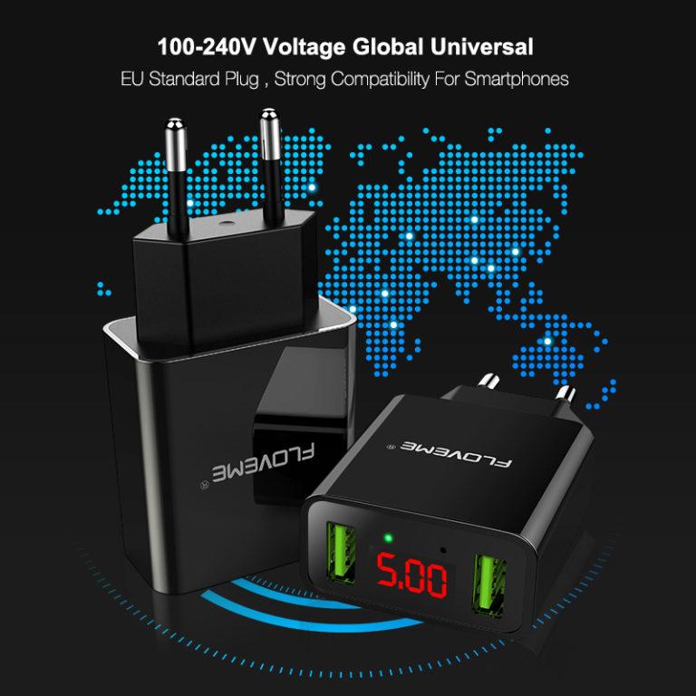 Универсальное зарядное устройство Dual USB (2,2A), FLOVEME